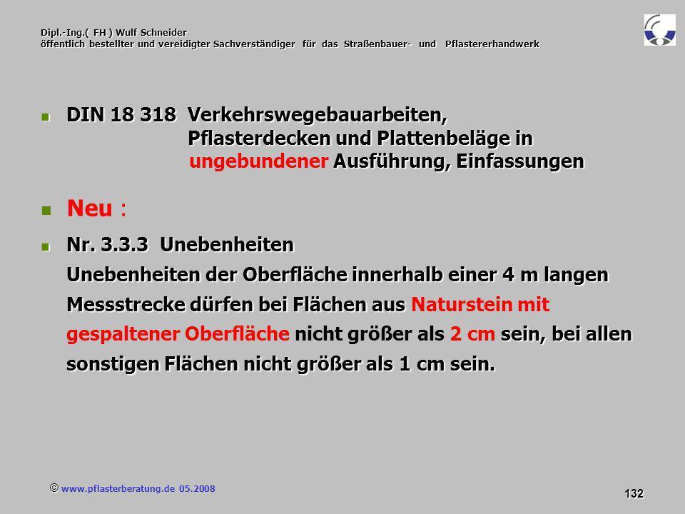 © www.pflasterberatung.de 05.2008 132 Dipl.-Ing.( FH ) Wulf Schneider öffentlich bestellter und vereidigter Sachverständiger für das Straßenbauer- und