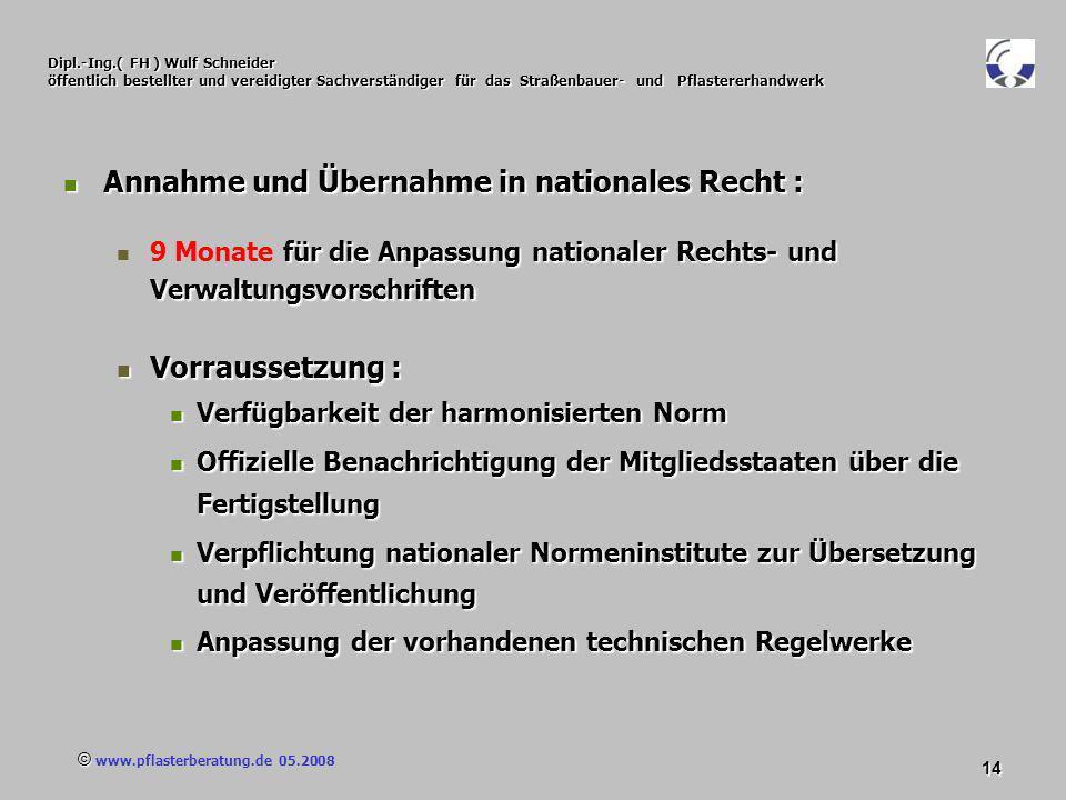 © www.pflasterberatung.de 05.2008 14 Dipl.-Ing.( FH ) Wulf Schneider öffentlich bestellter und vereidigter Sachverständiger für das Straßenbauer- und