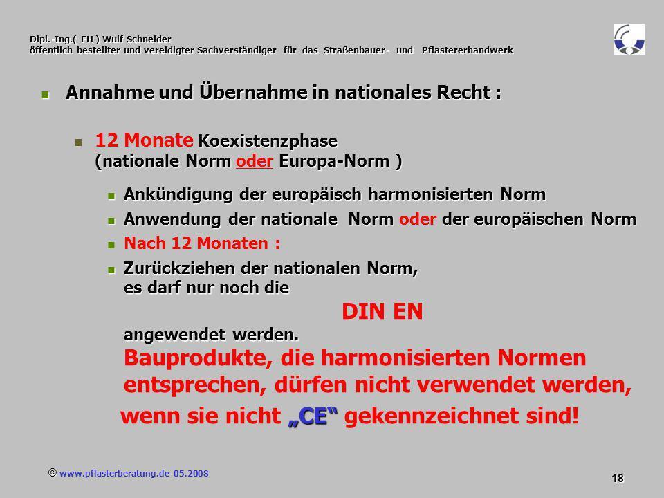 © www.pflasterberatung.de 05.2008 18 Dipl.-Ing.( FH ) Wulf Schneider öffentlich bestellter und vereidigter Sachverständiger für das Straßenbauer- und