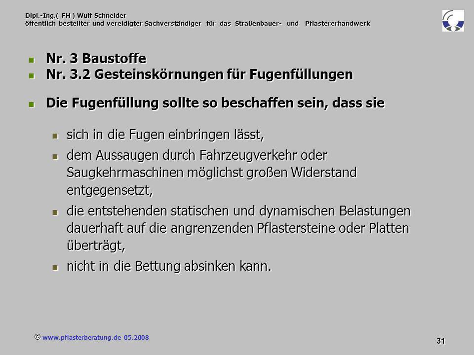 © www.pflasterberatung.de 05.2008 31 Dipl.-Ing.( FH ) Wulf Schneider öffentlich bestellter und vereidigter Sachverständiger für das Straßenbauer- und