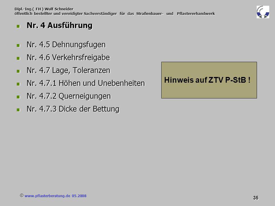 © www.pflasterberatung.de 05.2008 35 Dipl.-Ing.( FH ) Wulf Schneider öffentlich bestellter und vereidigter Sachverständiger für das Straßenbauer- und