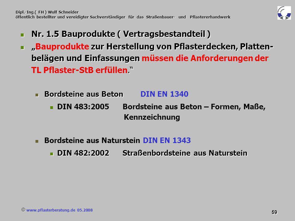 © www.pflasterberatung.de 05.2008 59 Dipl.-Ing.( FH ) Wulf Schneider öffentlich bestellter und vereidigter Sachverständiger für das Straßenbauer- und