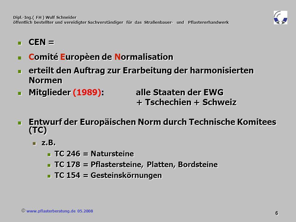 © www.pflasterberatung.de 05.2008 97 Dipl.-Ing.( FH ) Wulf Schneider öffentlich bestellter und vereidigter Sachverständiger für das Straßenbauer- und Pflastererhandwerk Konformitätserklärung Nach DIN EN 1338 Definition nach ISO/IEC 17000: (Konformitäts-) Erklärung:(Konformitäts-) Erklärung: Erstellen einer Bestätigung durch den Anbieter.