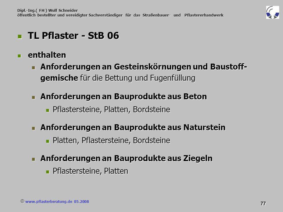 © www.pflasterberatung.de 05.2008 77 Dipl.-Ing.( FH ) Wulf Schneider öffentlich bestellter und vereidigter Sachverständiger für das Straßenbauer- und