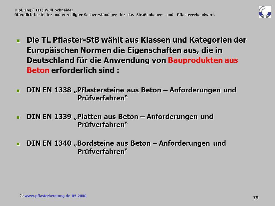 © www.pflasterberatung.de 05.2008 79 Dipl.-Ing.( FH ) Wulf Schneider öffentlich bestellter und vereidigter Sachverständiger für das Straßenbauer- und