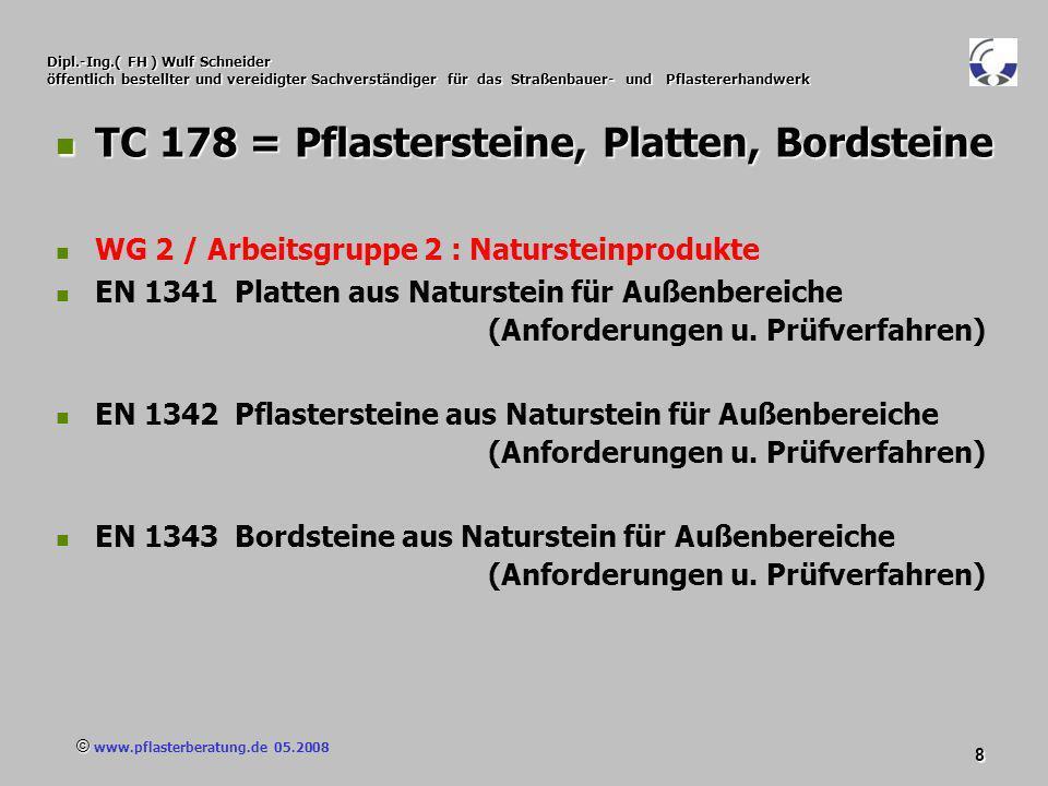 © www.pflasterberatung.de 05.2008 9 Dipl.-Ing.( FH ) Wulf Schneider öffentlich bestellter und vereidigter Sachverständiger für das Straßenbauer- und Pflastererhandwerk TC 178 = Pflastersteine, Platten, Bordsteine TC 178 = Pflastersteine, Platten, Bordsteine WG 3 / Arbeitsgruppe 3 : Pflasterziegel EN 1344 Pflasterziegel EN 1344 Pflasterziegel (Anforderungen u.