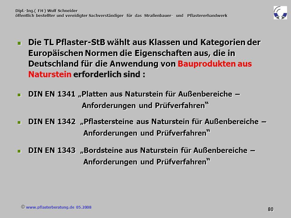 © www.pflasterberatung.de 05.2008 80 Dipl.-Ing.( FH ) Wulf Schneider öffentlich bestellter und vereidigter Sachverständiger für das Straßenbauer- und