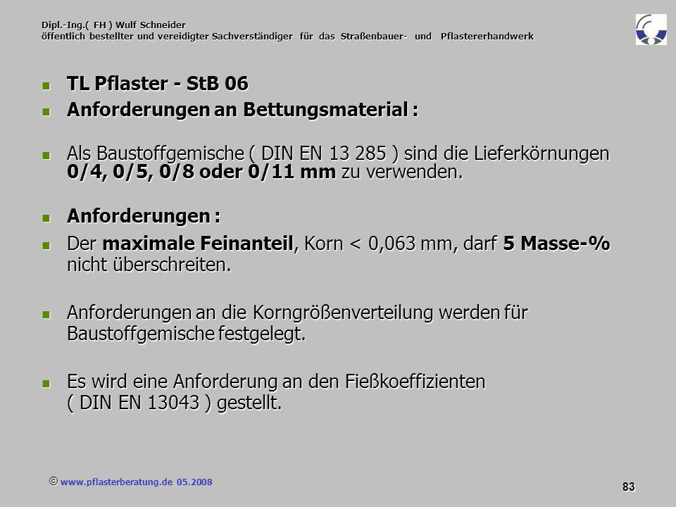 © www.pflasterberatung.de 05.2008 83 Dipl.-Ing.( FH ) Wulf Schneider öffentlich bestellter und vereidigter Sachverständiger für das Straßenbauer- und