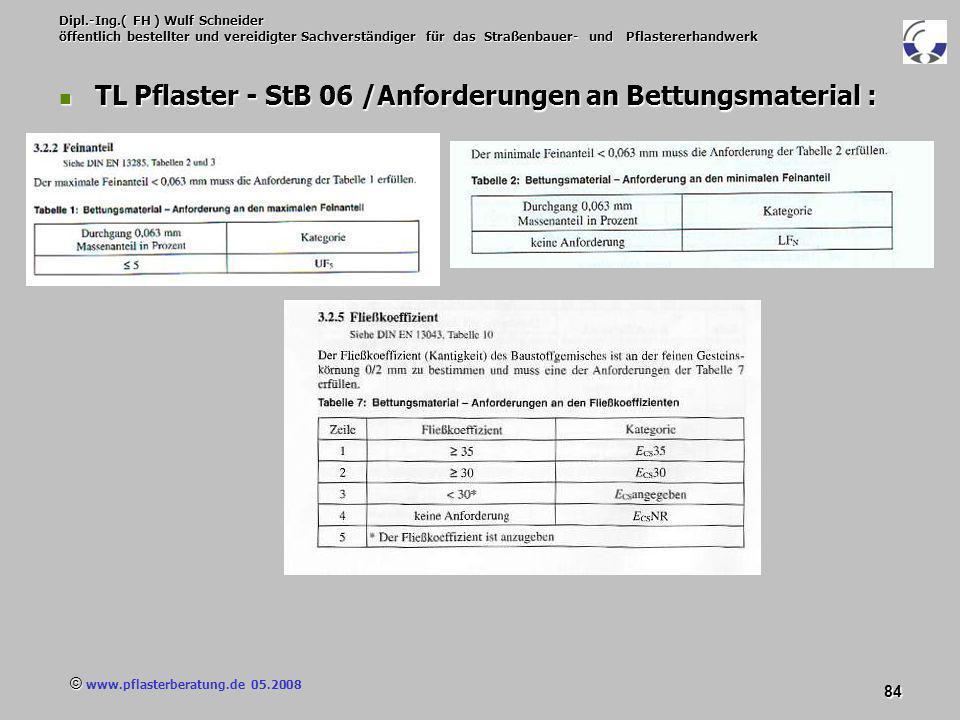 © www.pflasterberatung.de 05.2008 84 Dipl.-Ing.( FH ) Wulf Schneider öffentlich bestellter und vereidigter Sachverständiger für das Straßenbauer- und