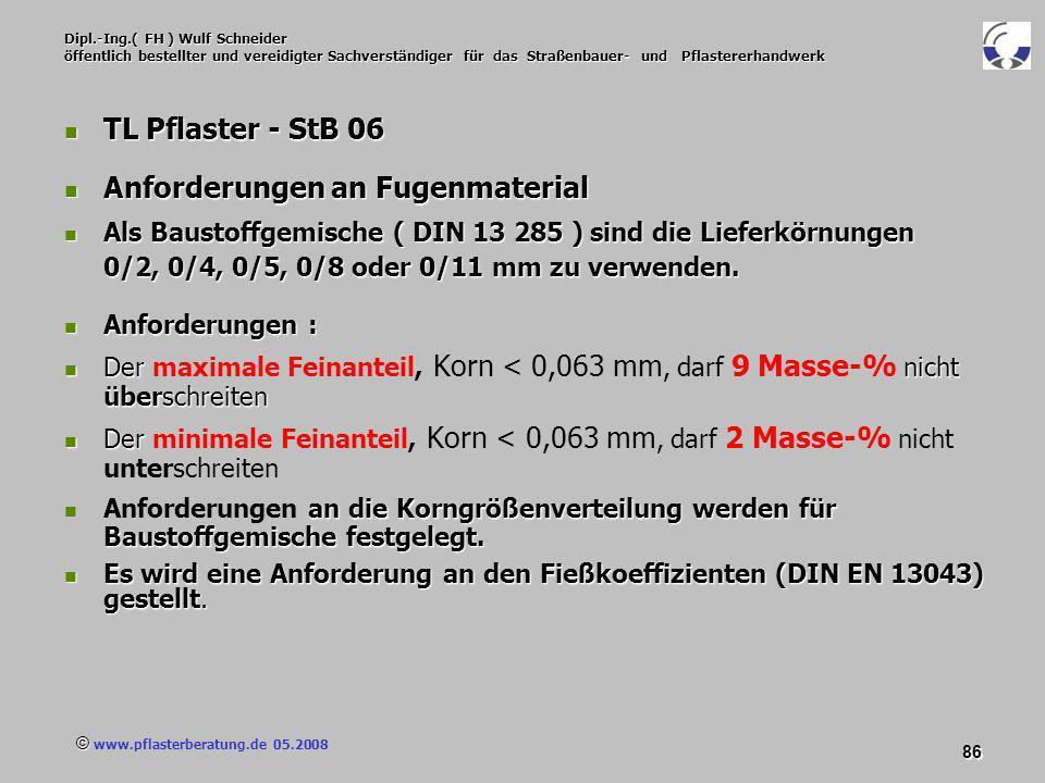 © www.pflasterberatung.de 05.2008 86 Dipl.-Ing.( FH ) Wulf Schneider öffentlich bestellter und vereidigter Sachverständiger für das Straßenbauer- und