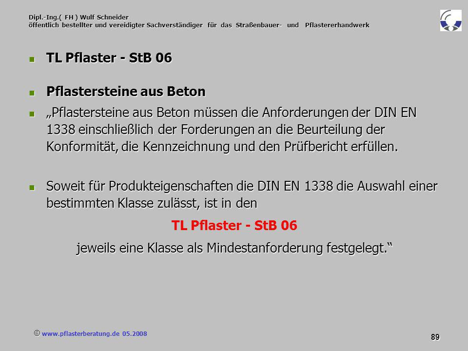 © www.pflasterberatung.de 05.2008 89 Dipl.-Ing.( FH ) Wulf Schneider öffentlich bestellter und vereidigter Sachverständiger für das Straßenbauer- und