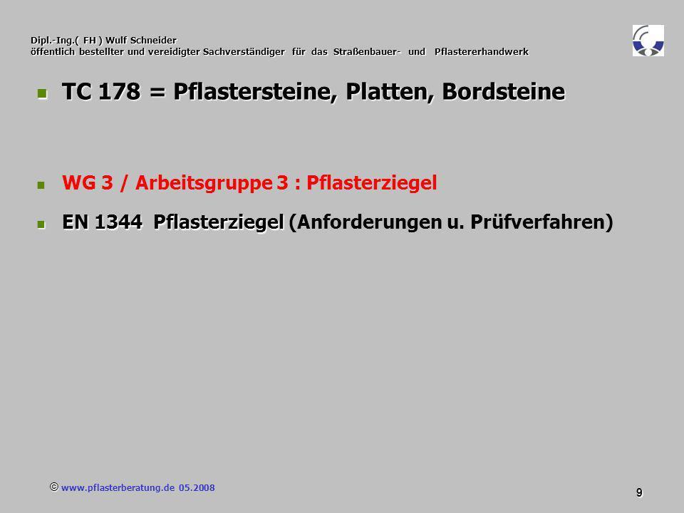 © www.pflasterberatung.de 05.2008 80 Dipl.-Ing.( FH ) Wulf Schneider öffentlich bestellter und vereidigter Sachverständiger für das Straßenbauer- und Pflastererhandwerk Die TL Pflaster-StB wählt aus Klassen und Kategorien der Europäischen Normen die Eigenschaften aus, die in Deutschland für die Anwendung von Die TL Pflaster-StB wählt aus Klassen und Kategorien der Europäischen Normen die Eigenschaften aus, die in Deutschland für die Anwendung von Bauprodukten aus Naturstein erforderlich sind : DIN EN 1341 Platten aus Naturstein für Außenbereiche – Anforderungen und Prüfverfahren DIN EN 1341 Platten aus Naturstein für Außenbereiche – Anforderungen und Prüfverfahren DIN EN 1342 Pflastersteine aus Naturstein für Außenbereiche – Anforderungen und Prüfverfahren DIN EN 1342 Pflastersteine aus Naturstein für Außenbereiche – Anforderungen und Prüfverfahren DIN EN 1343 Bordsteine aus Naturstein für Außenbereiche – Anforderungen und Prüfverfahren DIN EN 1343 Bordsteine aus Naturstein für Außenbereiche – Anforderungen und Prüfverfahren