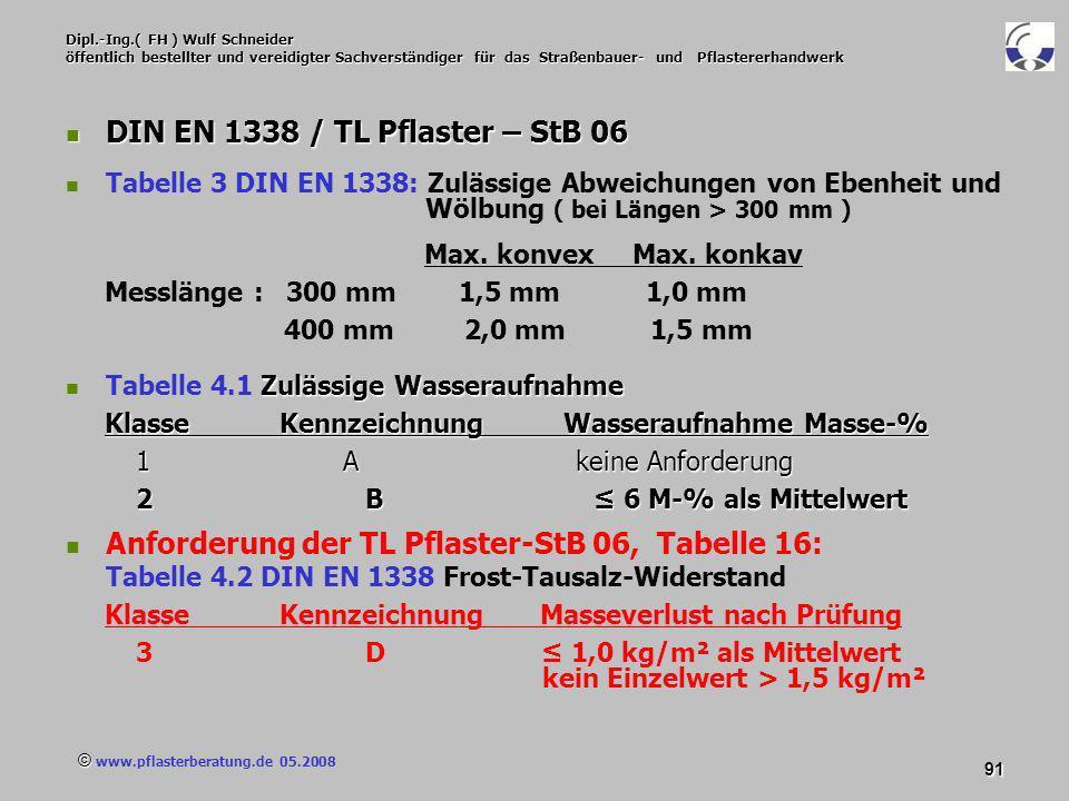 © www.pflasterberatung.de 05.2008 91 Dipl.-Ing.( FH ) Wulf Schneider öffentlich bestellter und vereidigter Sachverständiger für das Straßenbauer- und