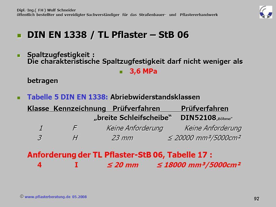 © www.pflasterberatung.de 05.2008 92 Dipl.-Ing.( FH ) Wulf Schneider öffentlich bestellter und vereidigter Sachverständiger für das Straßenbauer- und