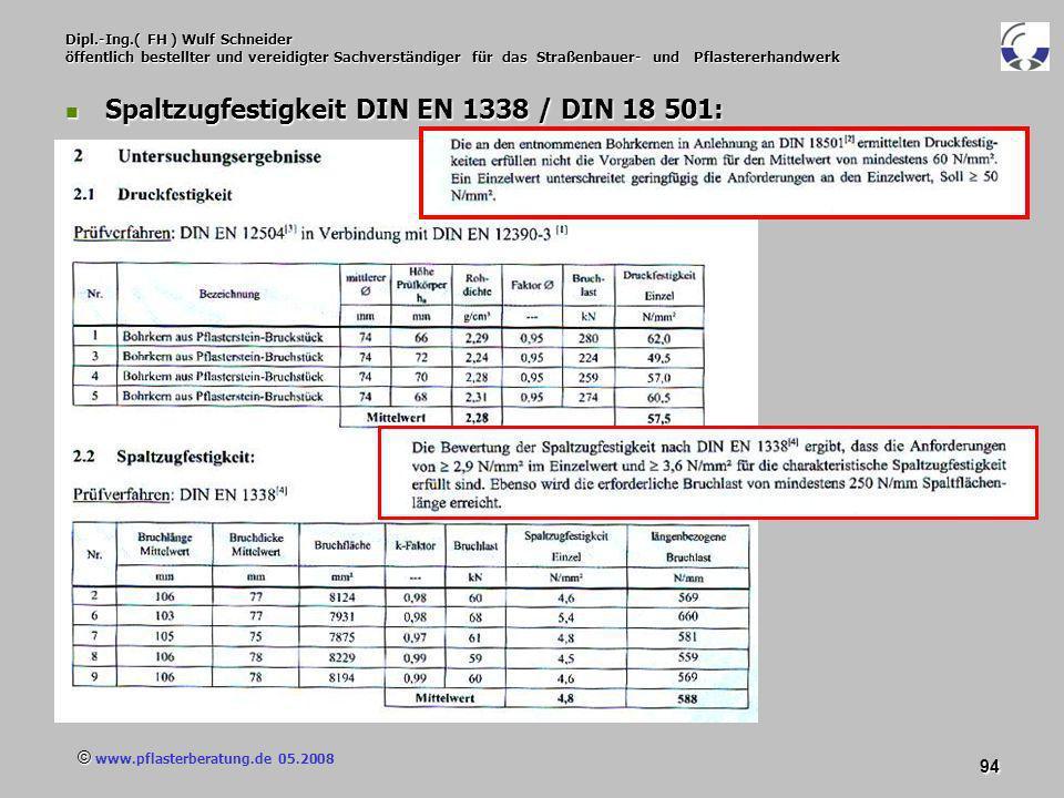 © www.pflasterberatung.de 05.2008 94 Dipl.-Ing.( FH ) Wulf Schneider öffentlich bestellter und vereidigter Sachverständiger für das Straßenbauer- und