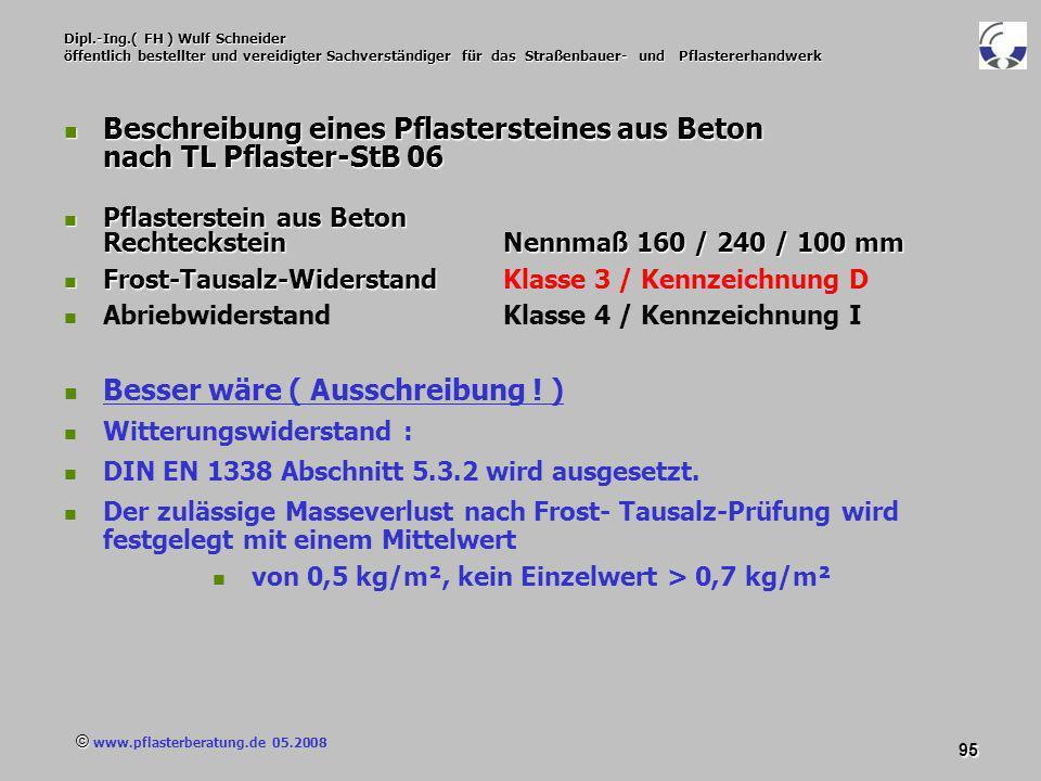 © www.pflasterberatung.de 05.2008 95 Dipl.-Ing.( FH ) Wulf Schneider öffentlich bestellter und vereidigter Sachverständiger für das Straßenbauer- und