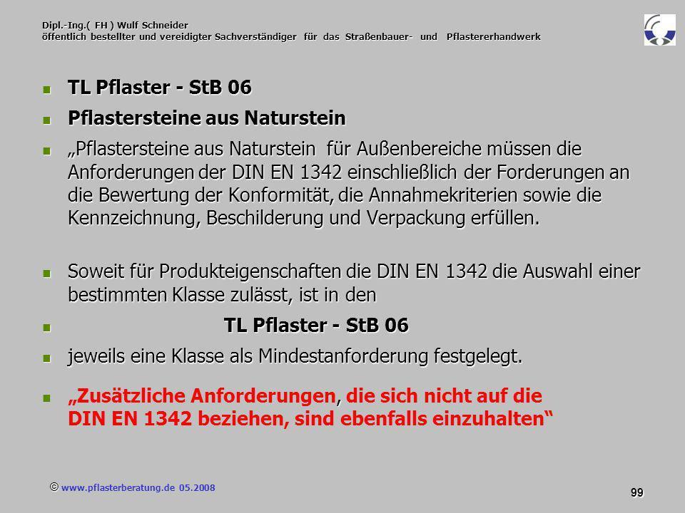 © www.pflasterberatung.de 05.2008 99 Dipl.-Ing.( FH ) Wulf Schneider öffentlich bestellter und vereidigter Sachverständiger für das Straßenbauer- und