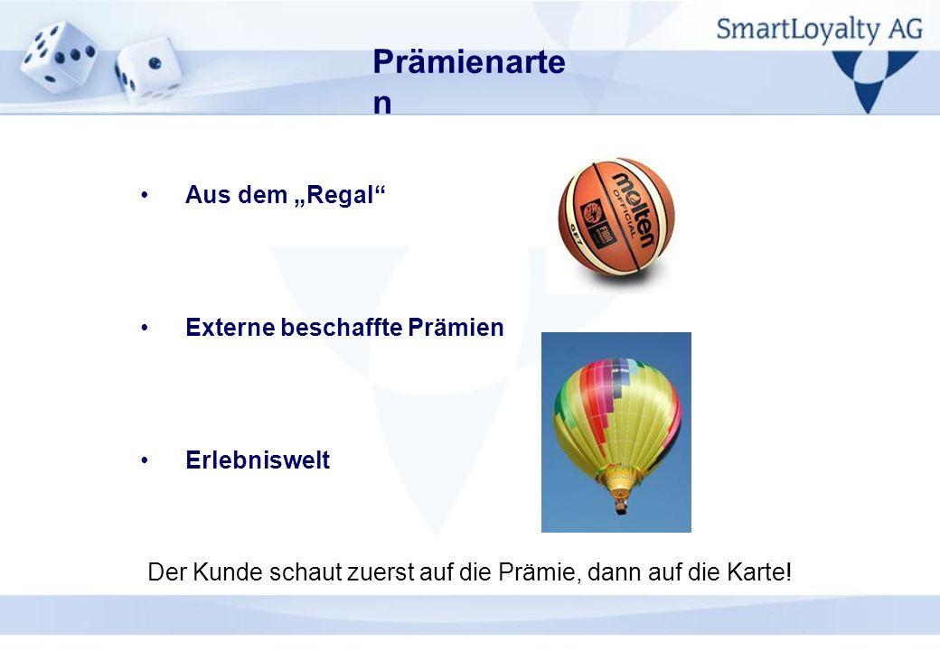 Prämienarte n Aus dem Regal Externe beschaffte Prämien Erlebniswelt Der Kunde schaut zuerst auf die Prämie, dann auf die Karte!