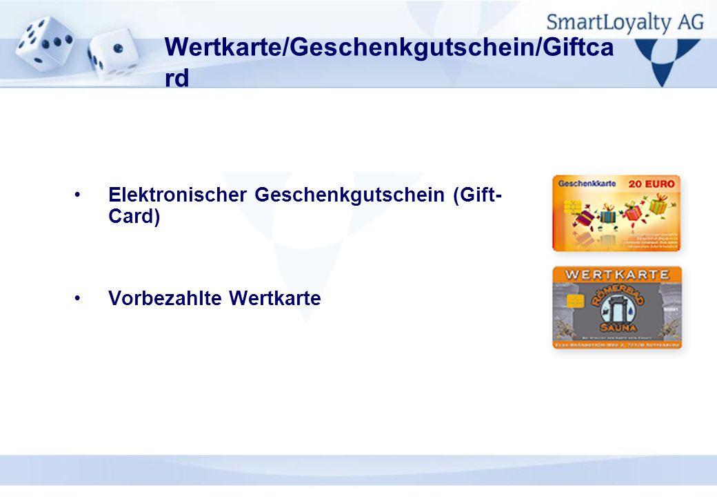 Wertkarte/Geschenkgutschein/Giftca rd Elektronischer Geschenkgutschein (Gift- Card) Vorbezahlte Wertkarte