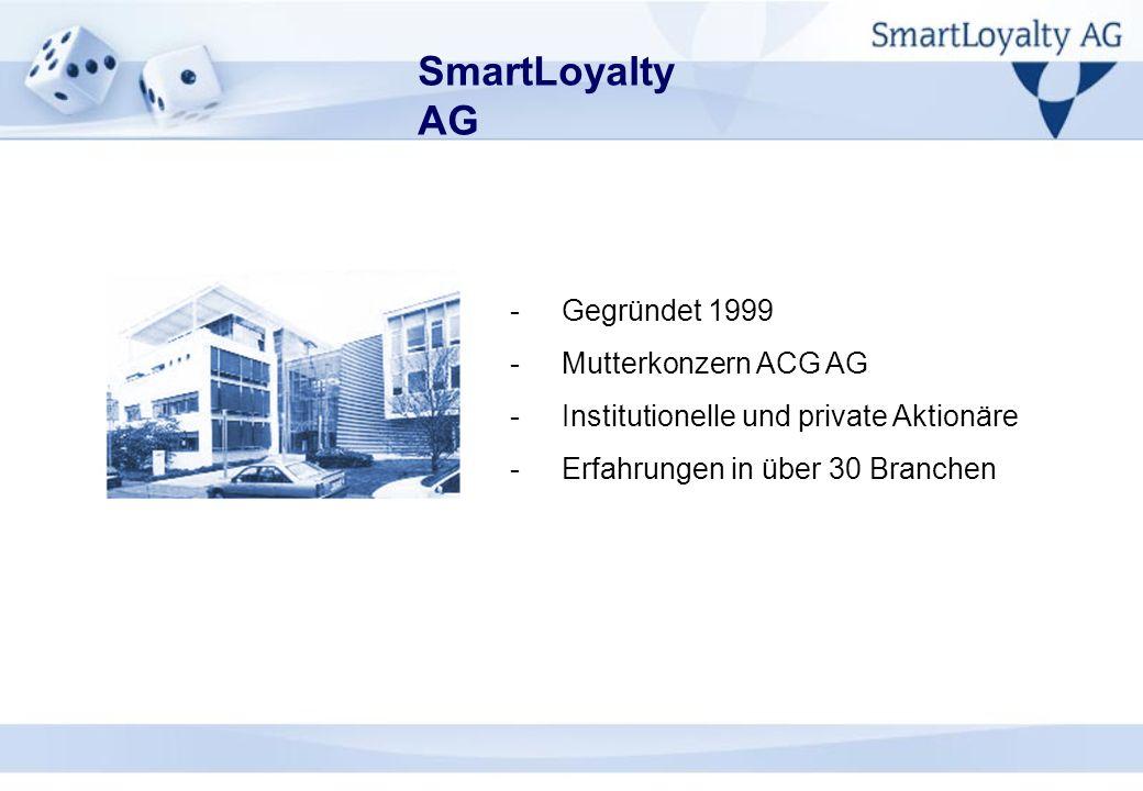 SmartLoyalty AG -Gegründet 1999 -Mutterkonzern ACG AG -Institutionelle und private Aktionäre -Erfahrungen in über 30 Branchen