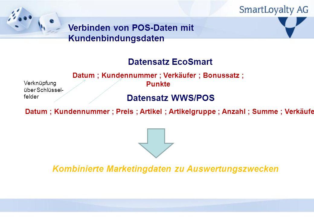 Verbinden von POS-Daten mit Kundenbindungsdaten Datum ; Kundennummer ; Verkäufer ; Bonussatz ; Punkte Datum ; Kundennummer ; Preis ; Artikel ; Artikel