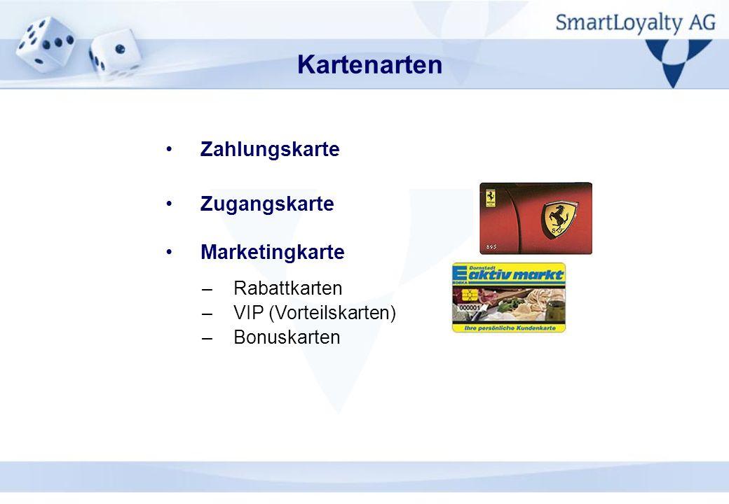 Kartenarten Zahlungskarte Zugangskarte Marketingkarte –Rabattkarten –VIP (Vorteilskarten) –Bonuskarten