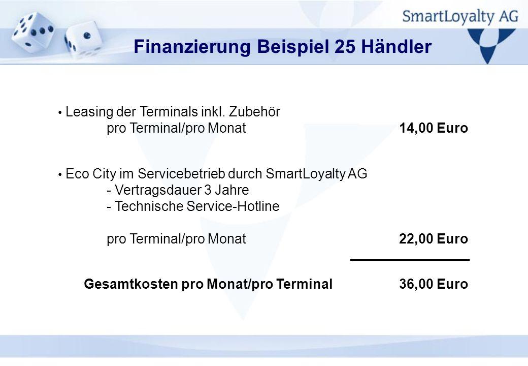Finanzierung Beispiel 25 Händler Leasing der Terminals inkl. Zubehör pro Terminal/pro Monat14,00 Euro Eco City im Servicebetrieb durch SmartLoyalty AG