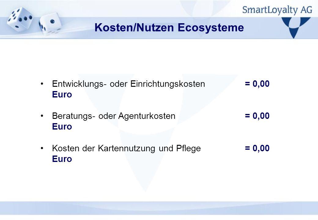 Kosten/Nutzen Ecosysteme Entwicklungs- oder Einrichtungskosten= 0,00 Euro Beratungs- oder Agenturkosten = 0,00 Euro Kosten der Kartennutzung und Pfleg