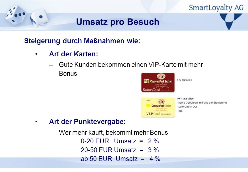 Art der Karten: –Gute Kunden bekommen einen VIP-Karte mit mehr Bonus Art der Punktevergabe: –Wer mehr kauft, bekommt mehr Bonus 0-20 EUR Umsatz = 2 %