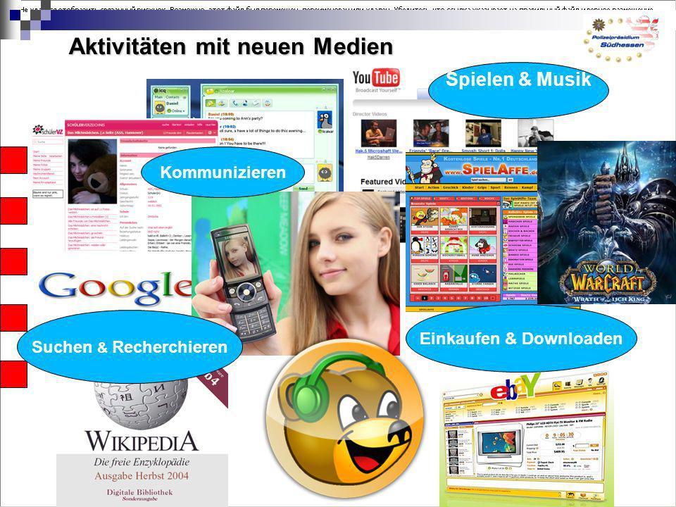 Aktivitäten mit neuen Medien Suchen & Recherchieren Kommunizieren Spielen & Musik Einkaufen & Downloaden