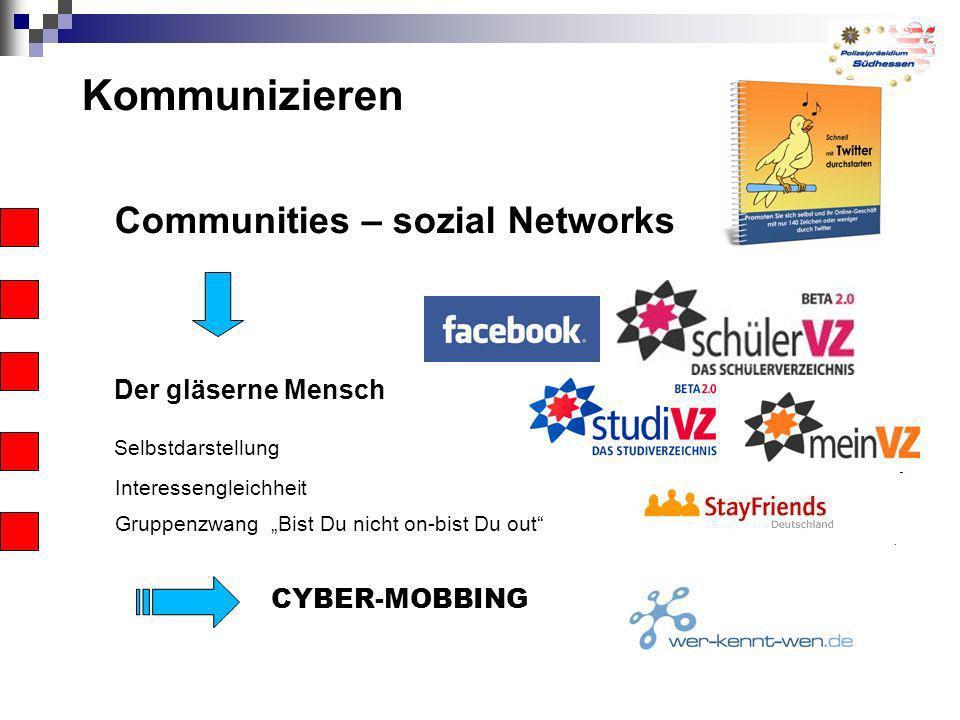 Kommunizieren Communities – sozial Networks Der gläserne Mensch Selbstdarstellung Interessengleichheit Gruppenzwang Bist Du nicht on-bist Du out CYBER