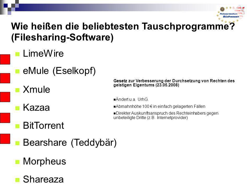 Wie heißen die beliebtesten Tauschprogramme? (Filesharing-Software) LimeWire eMule (Eselkopf) Xmule Kazaa BitTorrent Bearshare (Teddybär) Morpheus Sha