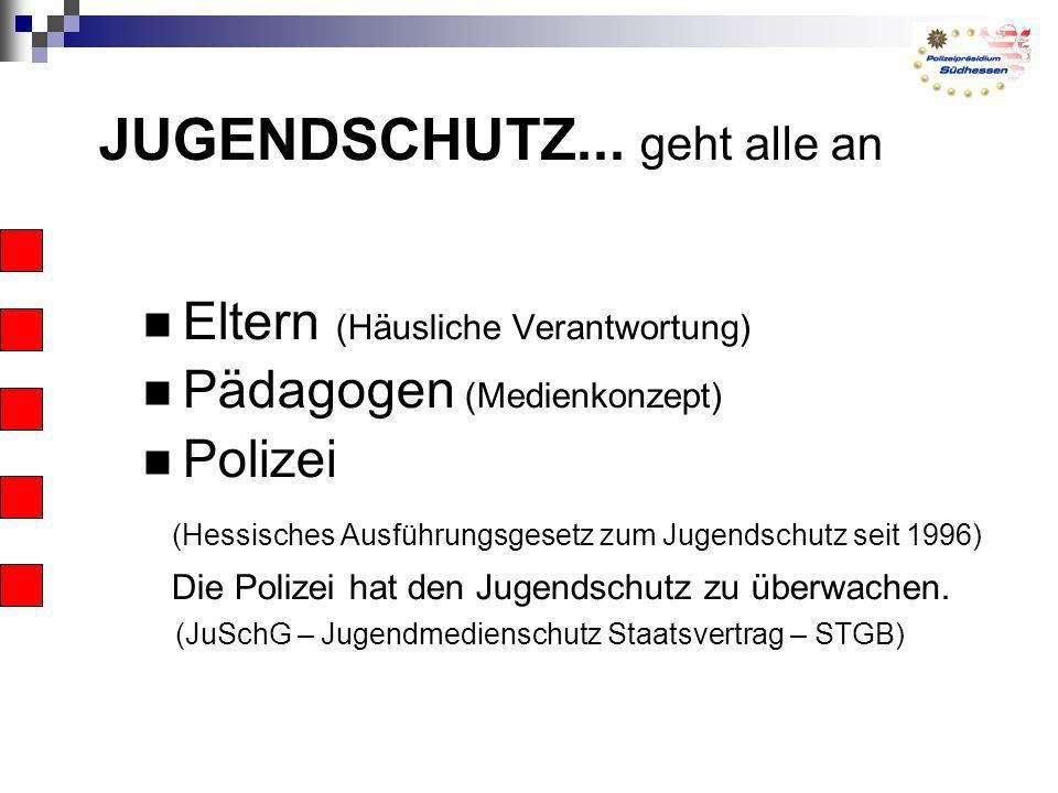 JUGENDSCHUTZ... geht alle an Eltern (Häusliche Verantwortung) Pädagogen (Medienkonzept) Polizei (Hessisches Ausführungsgesetz zum Jugendschutz seit 19