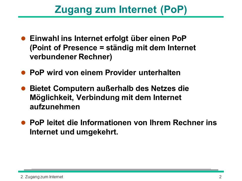 22. Zugang zum Internet Zugang zum Internet (PoP) l Einwahl ins Internet erfolgt über einen PoP (Point of Presence = ständig mit dem Internet verbunde