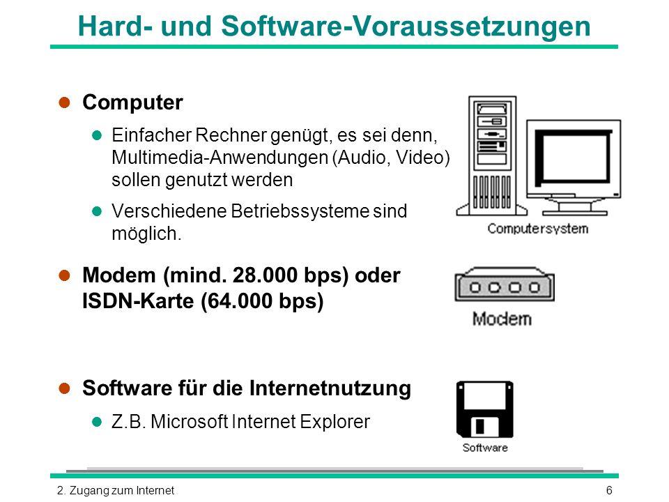 62. Zugang zum Internet Hard- und Software-Voraussetzungen l Computer l Einfacher Rechner genügt, es sei denn, Multimedia-Anwendungen (Audio, Video) s