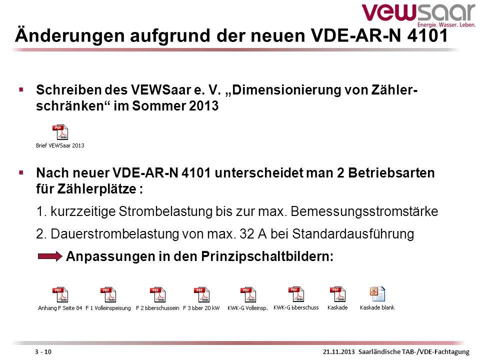 21.11.2013 Saarländische TAB-/VDE-Fachtagung3 - 10 Änderungen aufgrund der neuen VDE-AR-N 4101 Schreiben des VEWSaar e. V. Dimensionierung von Zähler-