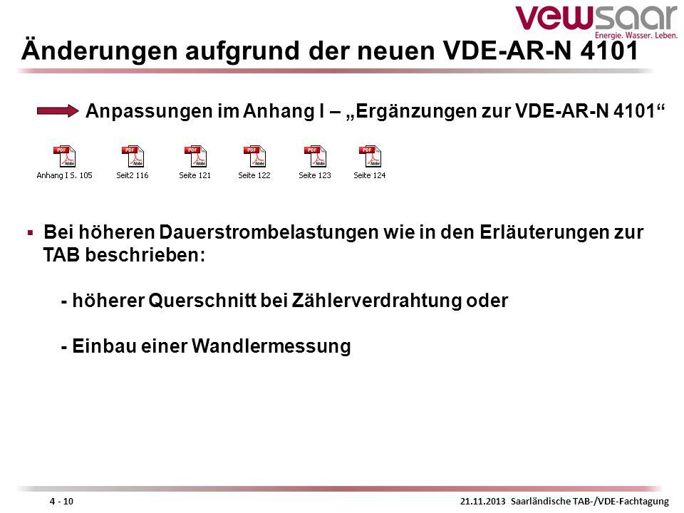 21.11.2013 Saarländische TAB-/VDE-Fachtagung4 - 10 Änderungen aufgrund der neuen VDE-AR-N 4101 Anpassungen im Anhang I – Ergänzungen zur VDE-AR-N 4101