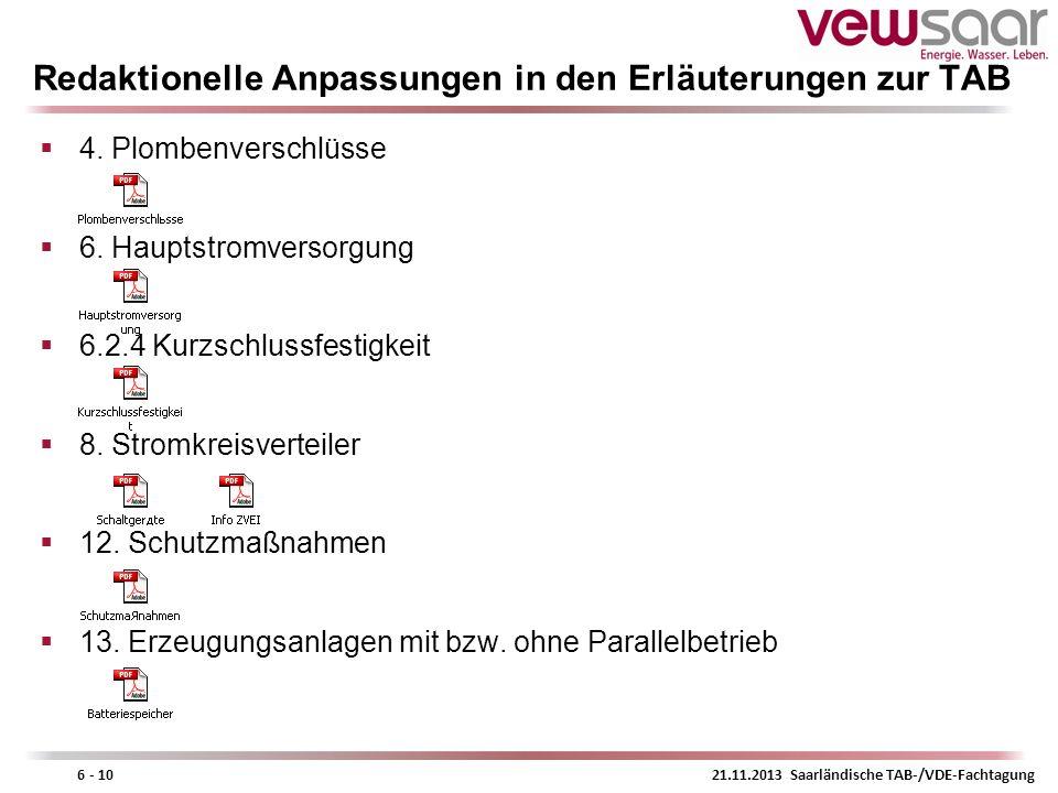 21.11.2013 Saarländische TAB-/VDE-Fachtagung6 - 10 Redaktionelle Anpassungen in den Erläuterungen zur TAB 4. Plombenverschlüsse 6. Hauptstromversorgun