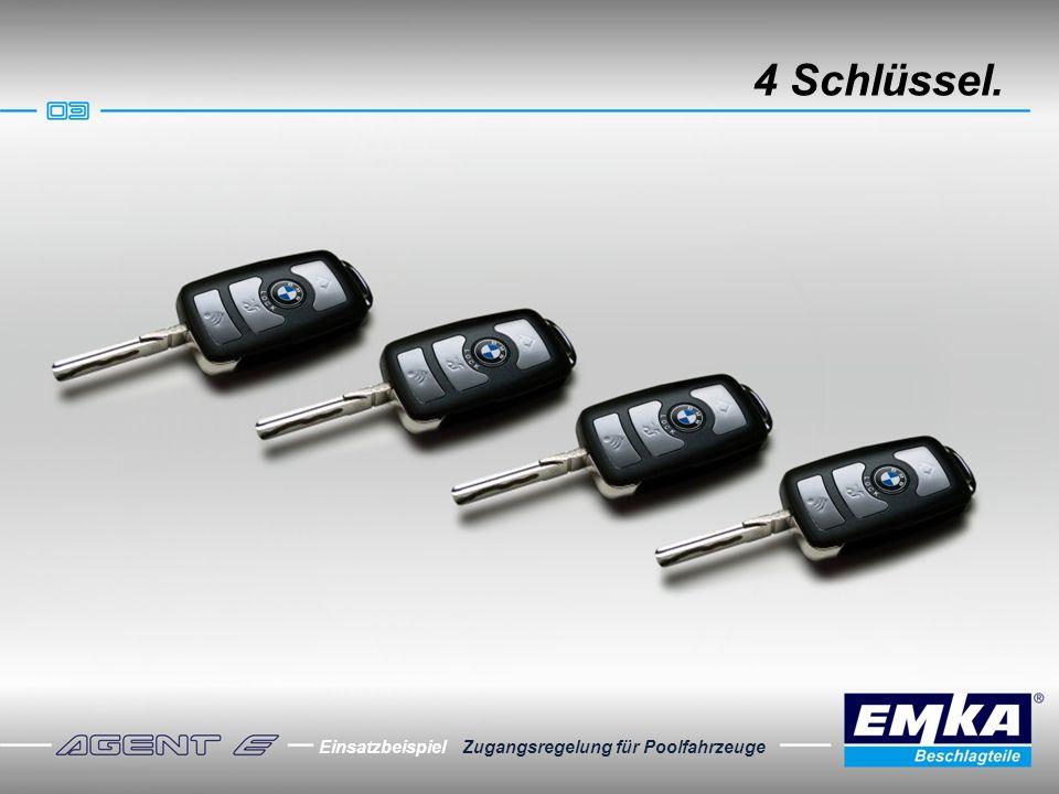 4 Schlüssel. Einsatzbeispiel Zugangsregelung für Poolfahrzeuge