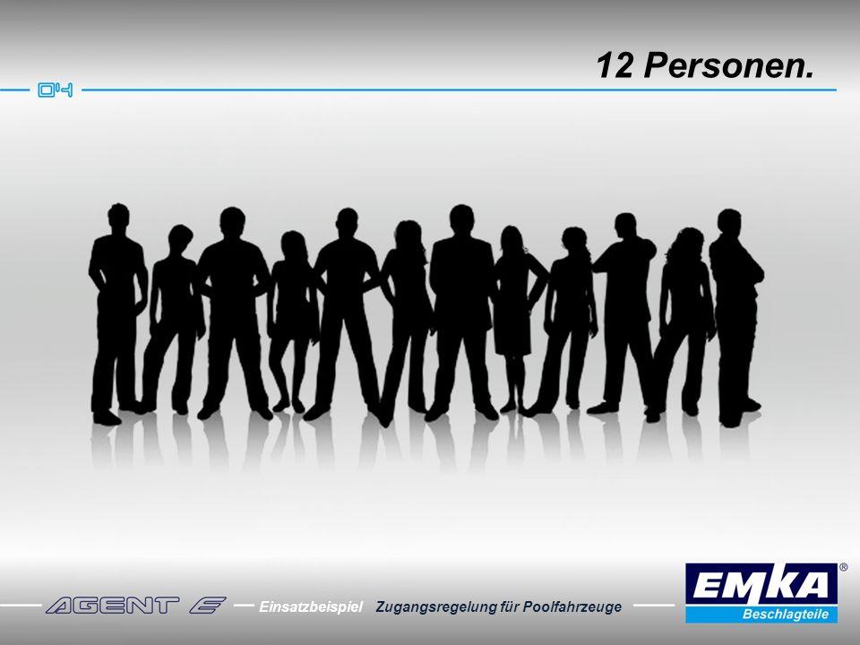 12 Personen. Einsatzbeispiel Zugangsregelung für Poolfahrzeuge
