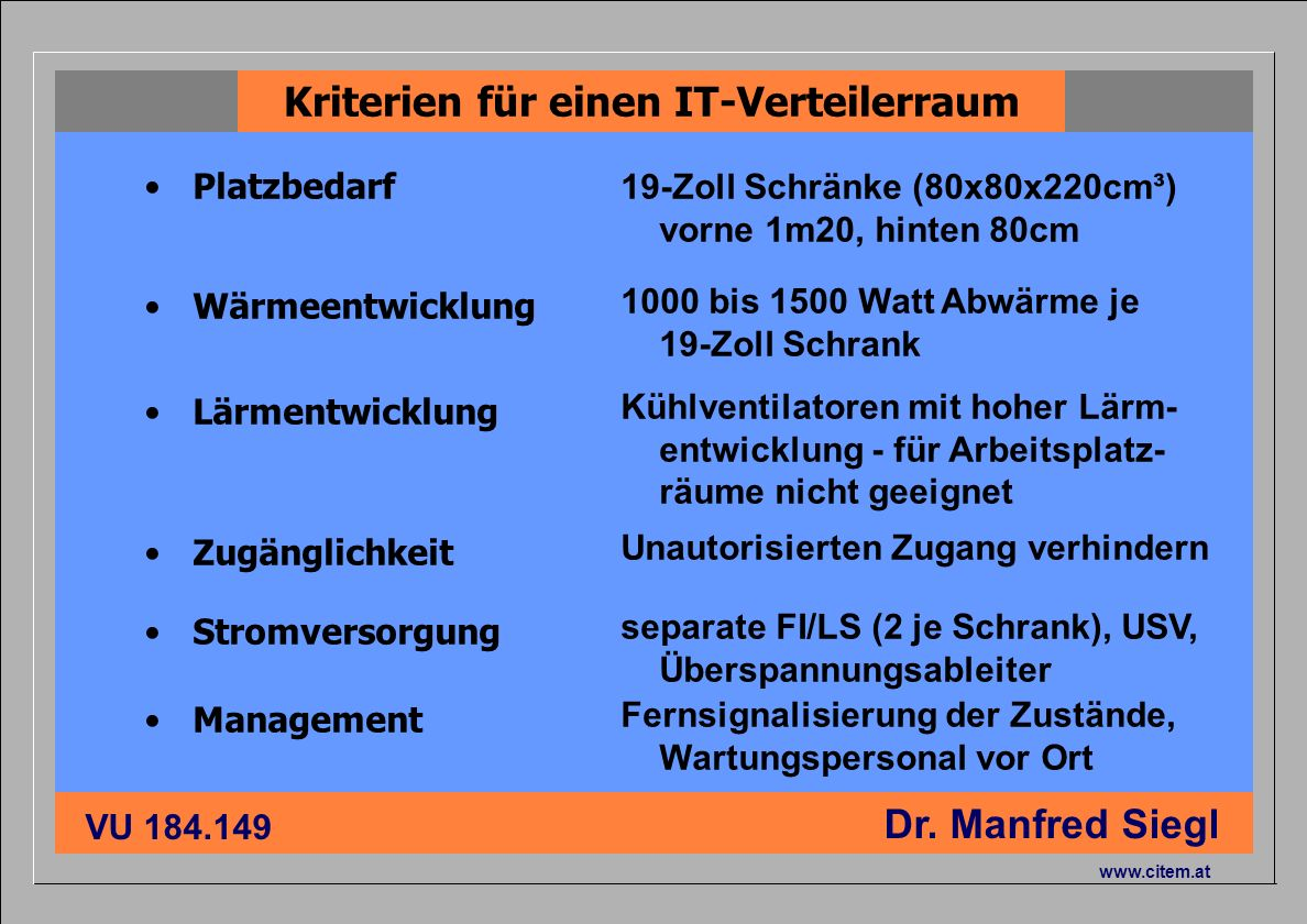 ciiema CITEM - Dr. Siegl VU 184.149 Dr. Manfred Siegl www.citem.at Platzbedarf Kriterien für einen IT-Verteilerraum 19-Zoll Schränke (80x80x220cm³) vo
