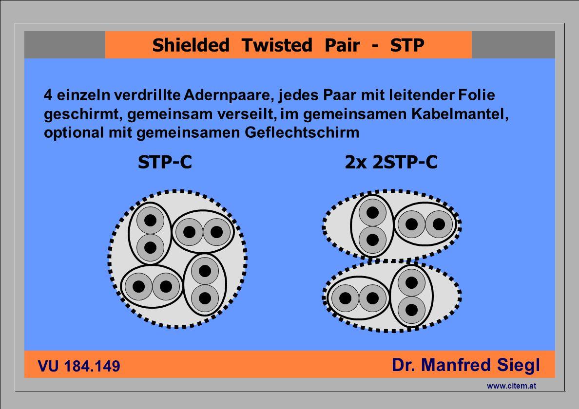 ciiema CITEM - Dr. Siegl VU 184.149 Dr. Manfred Siegl www.citem.at STP-C2x 2STP-C Shielded Twisted Pair - STP 4 einzeln verdrillte Adernpaare, jedes P