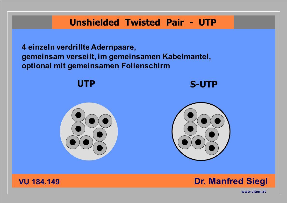 ciiema CITEM - Dr. Siegl VU 184.149 Dr. Manfred Siegl www.citem.at UTP S-UTP Unshielded Twisted Pair - UTP 4 einzeln verdrillte Adernpaare, gemeinsam