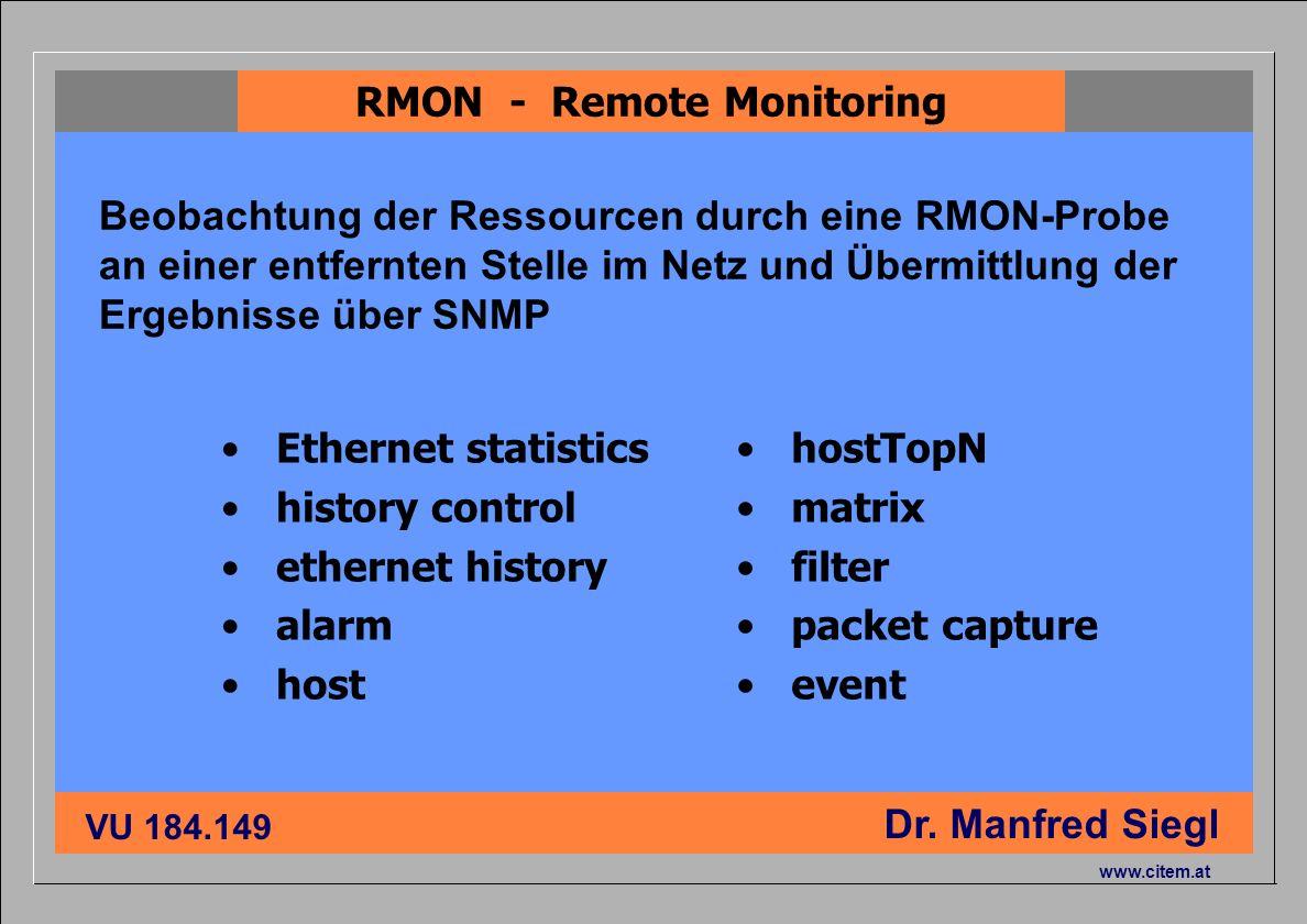 ciiema CITEM - Dr. Siegl VU 184.149 Dr. Manfred Siegl www.citem.at Ethernet statistics history control ethernet history alarm host hostTopN matrix fil