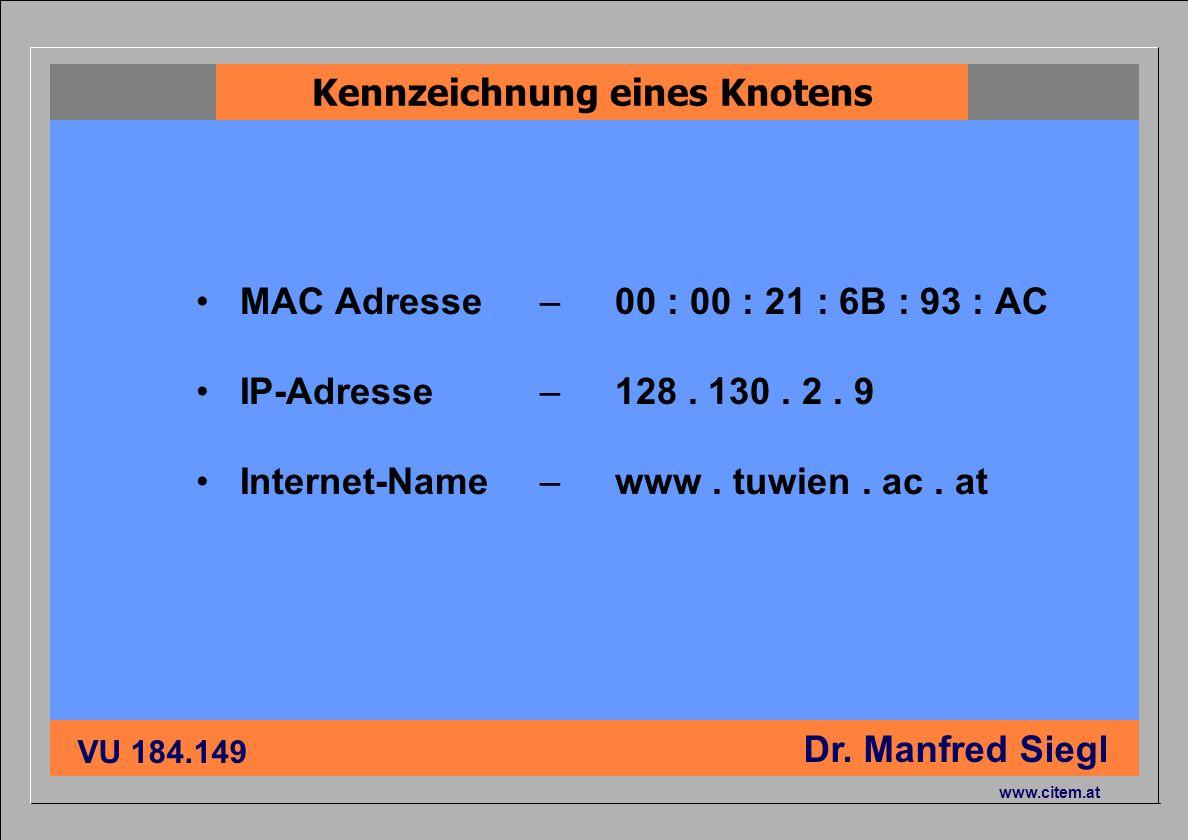 ciiema CITEM - Dr. Siegl VU 184.149 Dr. Manfred Siegl www.citem.at MAC Adresse IP-Adresse Internet-Name – 00 : 00 : 21 : 6B : 93 : AC – 128. 130. 2. 9