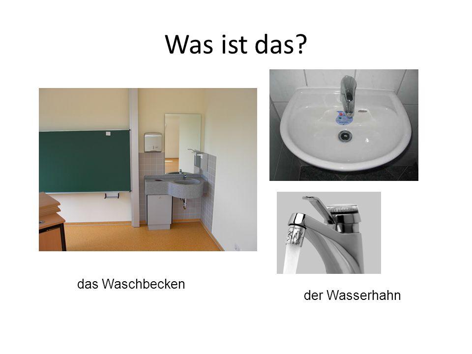 das Waschbecken der Wasserhahn