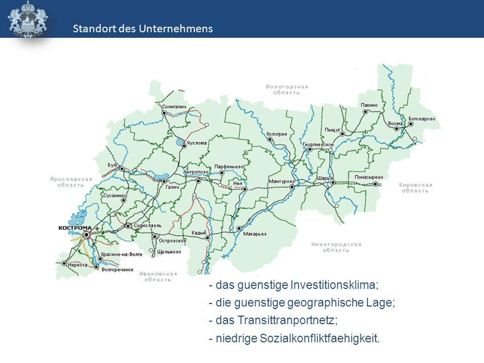 - das guenstige Investitionsklima; - die guenstige geographische Lage; - das Transittranportnetz; - niedrige Sozialkonfliktfaehigkeit. Standort des Un