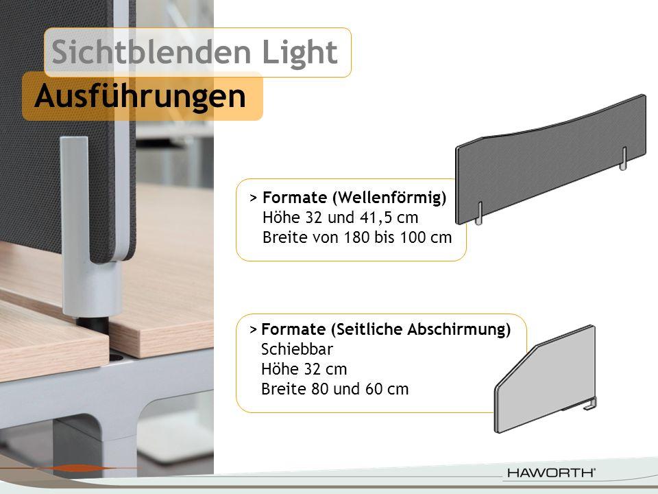 Ausführungen > Formate (Wellenförmig) Höhe 32 und 41,5 cm Breite von 180 bis 100 cm >Formate (Seitliche Abschirmung) Schiebbar Höhe 32 cm Breite 80 un