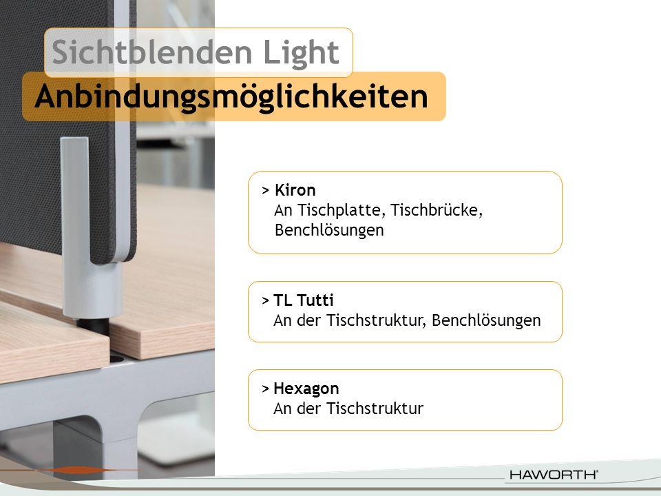 >Hexagon An der Tischstruktur Anbindungsmöglichkeiten > Kiron An Tischplatte, Tischbrücke, Benchlösungen >TL Tutti An der Tischstruktur, Benchlösungen
