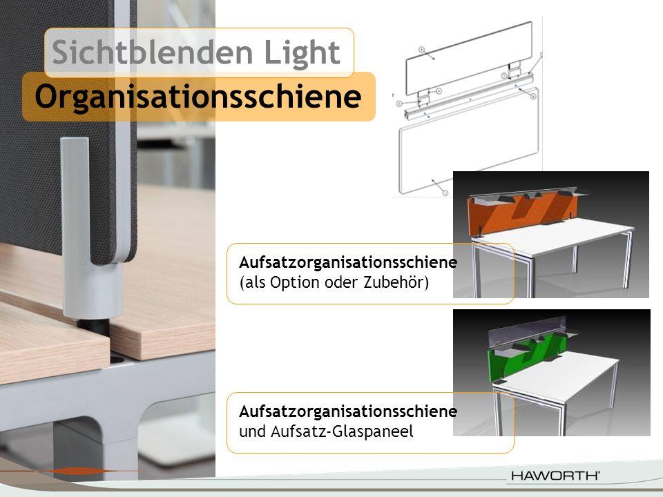 Organisationsschiene Aufsatzorganisationsschiene und Aufsatz-Glaspaneel Aufsatzorganisationsschiene (als Option oder Zubehör) Sichtblenden Light
